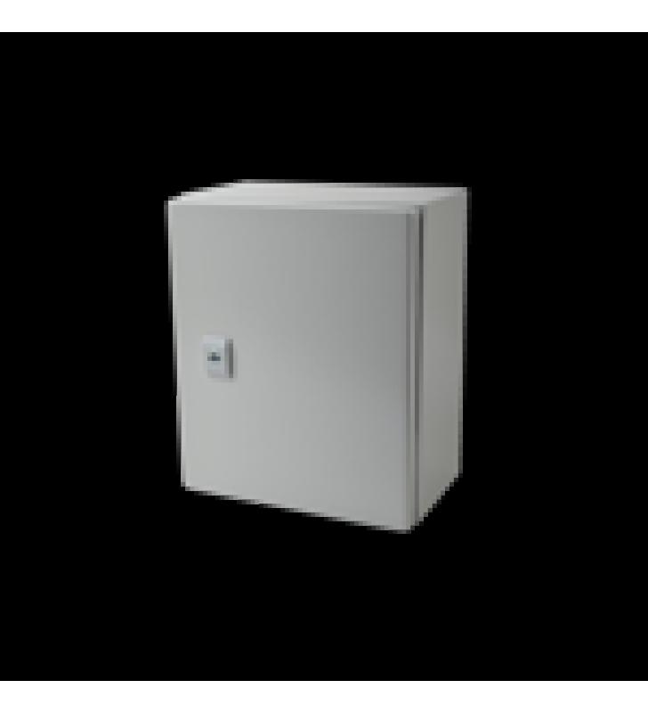 GABINETE DE ACERO IP66 USO EN INTEMPERIE (250 X 300 X 150 MM) CON PLACA TRASERA INTERIOR Y COMPUERTA INFERIOR ATORNILLABLE (INCLUYE CHAPA Y LLAVE).