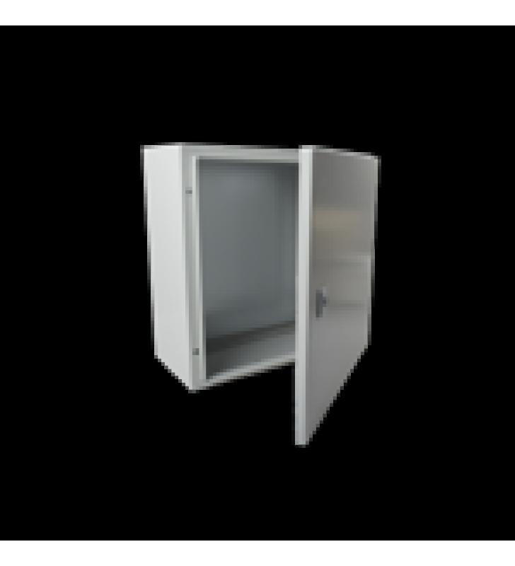 GABINETE DE ACERO IP66 USO EN INTEMPERIE (400 X 400 X 200 MM) CON PLACA TRASERA INTERIOR Y COMPUERTA INFERIOR ATORNILLABLE (INCLUYE CHAPA Y LLAVE).