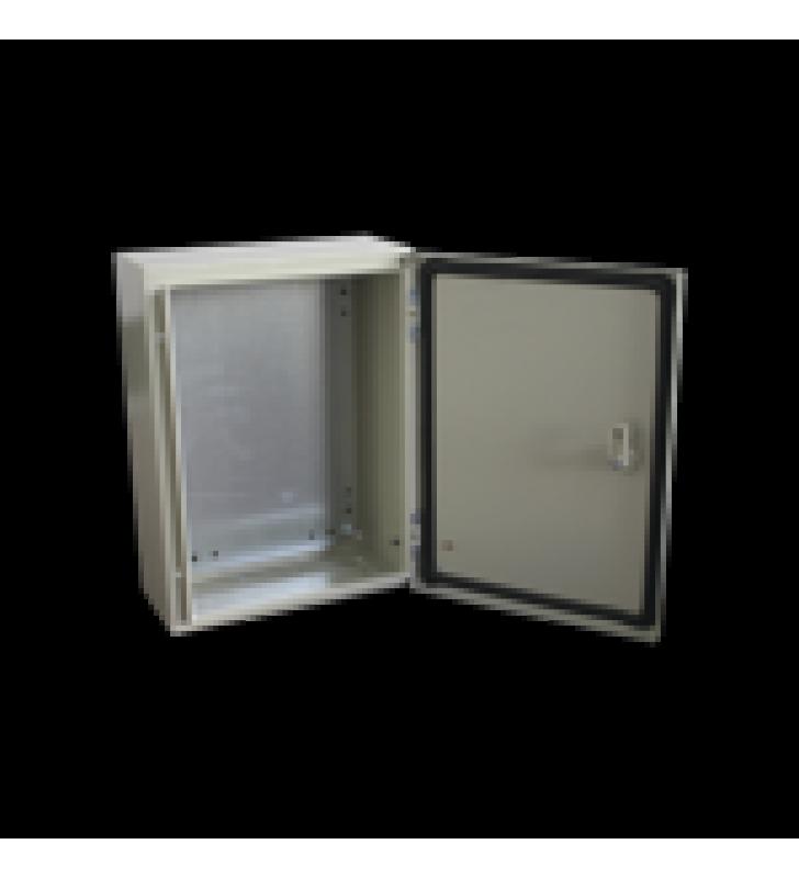 GABINETE DE ACERO IP66 USO EN INTEMPERIE (600 X 600 X 300 MM) CON PLACA TRASERA INTERIOR Y COMPUERTA INFERIOR ATORNILLABLE (INCLUYE CHAPA Y LLAVE).