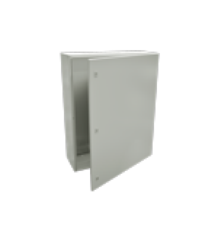 GABINETE DE ACERO IP66 USO EN INTEMPERIE (800 X 1000 X 300 MM) CON PLACA TRASERA INTERIOR Y COMPUERTA INFERIOR ATORNILLABLE (INCLUYE CHAPA Y LLAVE).