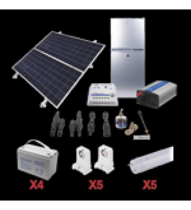 KIT DE ENERGIA SOLAR PARA REFRIGERADOR DE 105 L E ILUMINACION LED DE ALTA EFICIENCIA PARA APLICACIONES AISLADAS DE LA RED ELECTRICA