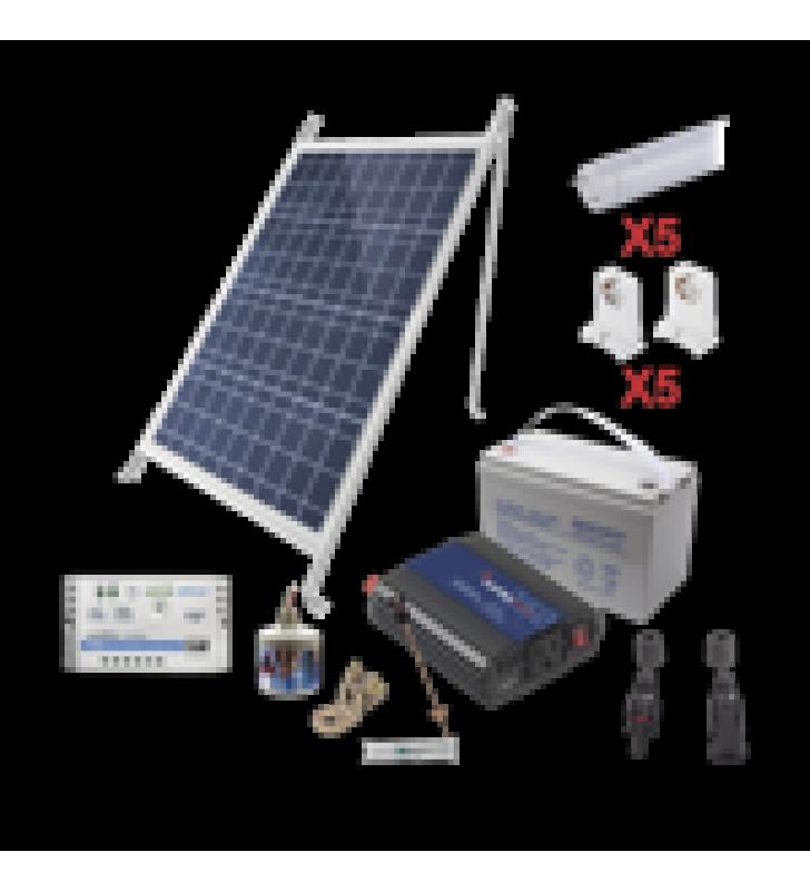 KIT SOLAR PARA ILUMINACION BASICA EN ZONAS RURALES, 5 TUBOS LED