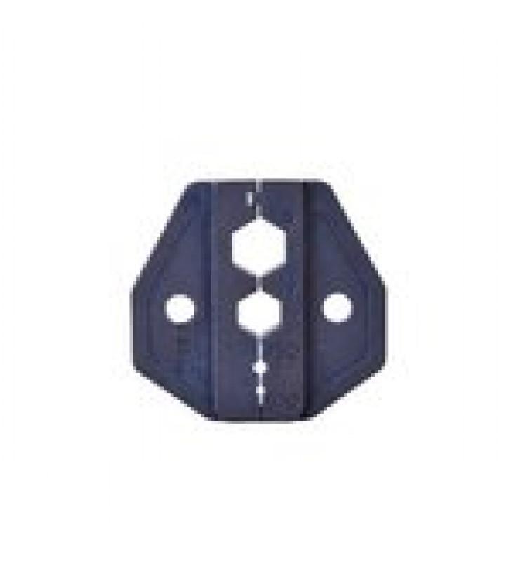 MORDAZA PARA PLEGAR CONECTORES DE ANILLO EN RG-6/U, RG-59/U, CON TAMANOS 0.324, 0.255, 0.068 Y 0.042.
