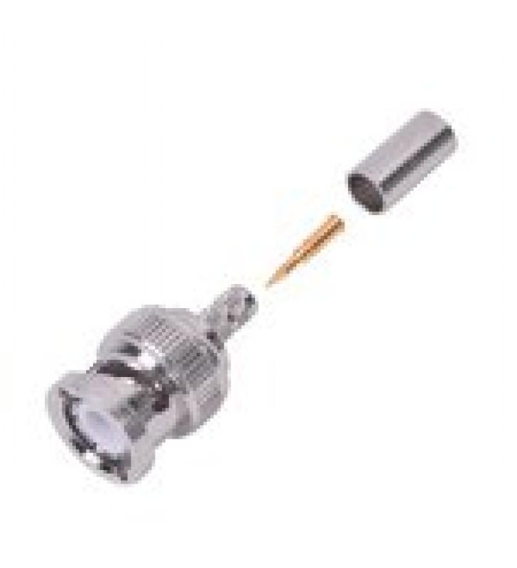 CONECTOR BNC MACHO DE ANILLO PLEGABLE PARA CABLE LMR-195, RG-58/U, RG-142, NIQUEL/ORO/TEFLON.