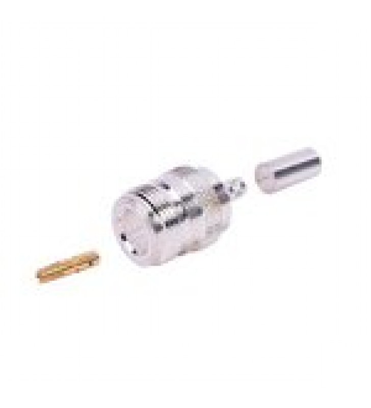 CONECTOR N HEMBRA DE ANILLO PLEGABLE PARA CABLES RG-58/U, NIQUEL/ ORO/ TEFLON.