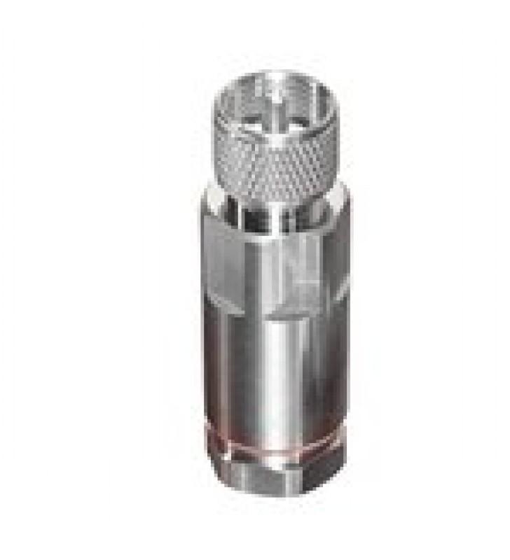 CONECTOR UHF MACHO (PL-259) DE RF INDUSTRIES, PARA CABLE HELIAX DE 1/2 LDF4-50A, TIPO ROSCA, BRONCE BLANCO/ PLATA/ TEFLON.