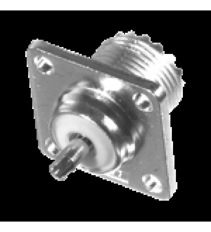 CONECTOR UHF HEMBRA (SO-239) PARA CHASIS 18 MM, TERMINAL SOLDABLE, BRONCE BLANCO/ ORO/ TEFLON.