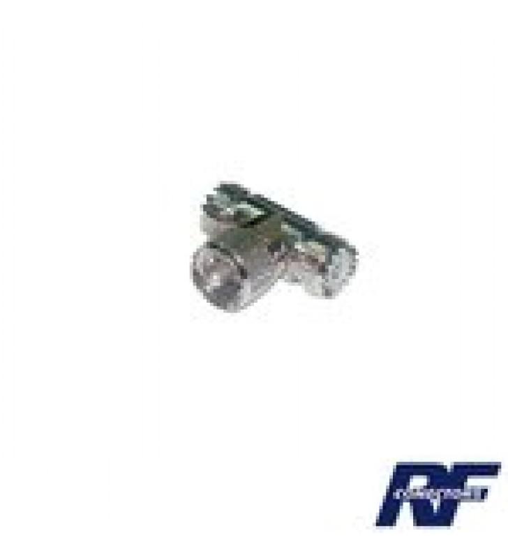 ADAPTADOR EN FORMA T, DE CONECTOR UHF MACHO (PL-259) A DOBLE UHF HEMBRA (SO-239), NIQUEL/ PLATA/ DELRIN.