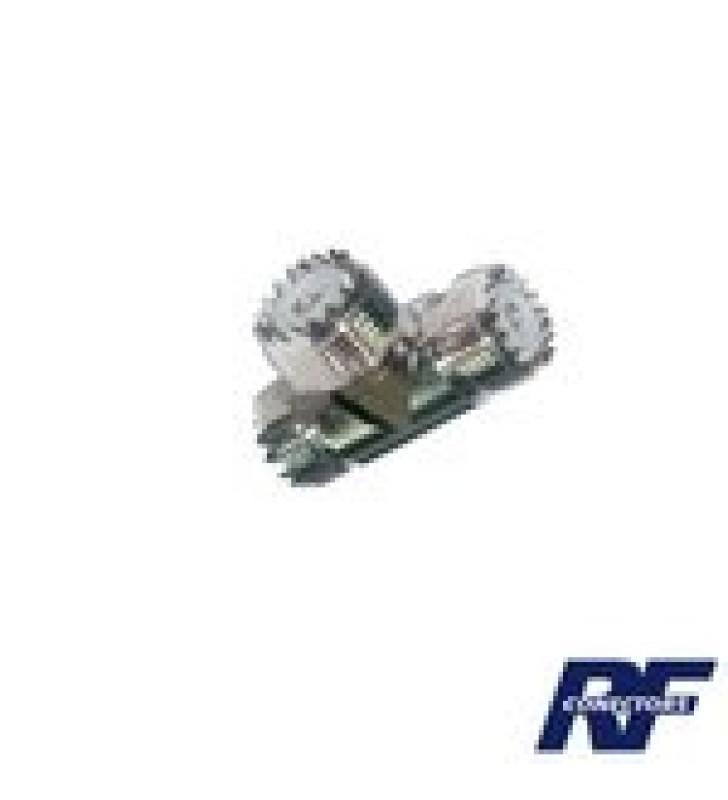 ADAPTADOR EN FORMA T, DE CONECTOR UHF HEMBRA (SO-239) A DOBLE CONECTOR UHF HEMBRA, NIQUEL/ PLATA/ DELRIN.