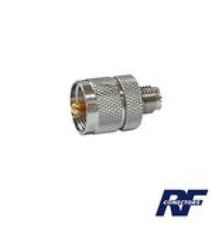 ADAPTADOR EN LINEA DE CONECTOR MINI UHF HEMBRA A UHF MACHO (PL-259), NIQUEL/ ORO/ TEFLON.
