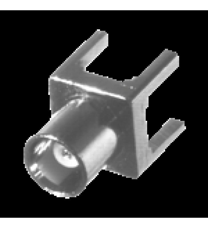 CONECTOR MCX HEMBRA DE MONTAJE VERTICAL PARA PCB, CON TERMINAL Y 4 PATAS, NIQUEL/ ORO/ TEFLON.