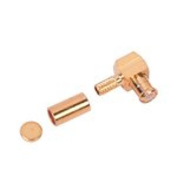 CONECTOR MCX MACHO EN ANGULO RECTO DE ANILLO PLEGABLE PARA CABLE RG-174/U, 8216, ORO / ORO / TEFLON.