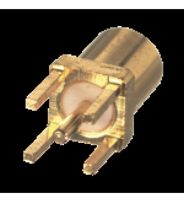CONECTOR MMCX HEMBRA PARA MONTAJE VERTICAL CON 4 PATAS Y TERMINAL PARA SOLDAR EN PCB, ORO/ ORO/ TEFLON.