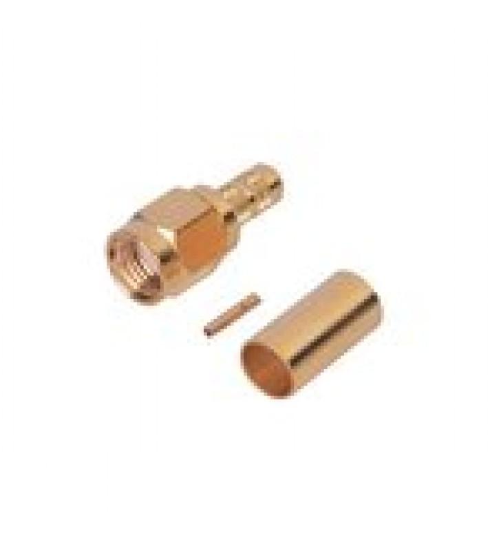 CONECTOR SMA MACHO INVERSO DE ANILLO PLEGABLE PARA CABLE RG-142/U, ORO/ORO/TEFLON.
