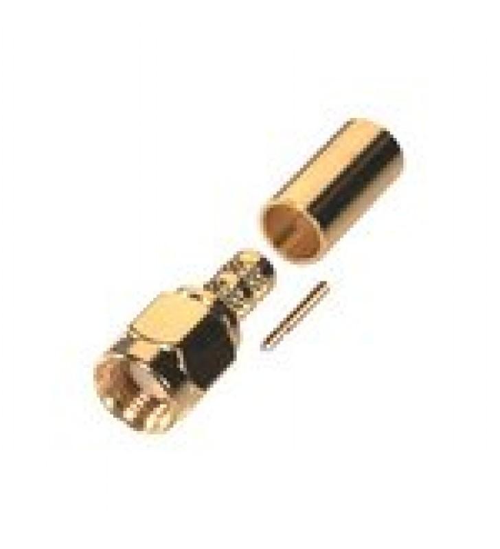 CONECTOR SMA MACHO INVERSO DE ANILLO PLEGABLE PARA CABLES 9258, RG-8/X, LMR-240, ORO/ORO/TEFLON.