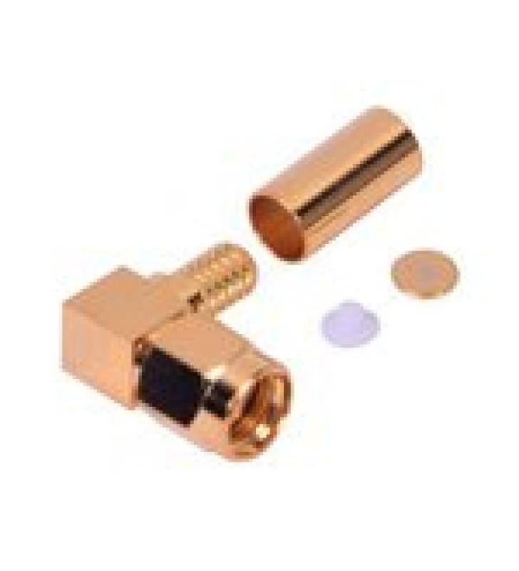 CONECTOR SMA MACHO INVERSO EN ANGULO RECTO DE ANILLO PLEGABLE PARA CABLES RG-58/U, RG-142/U, ORO/ ORO/ TEFLON.