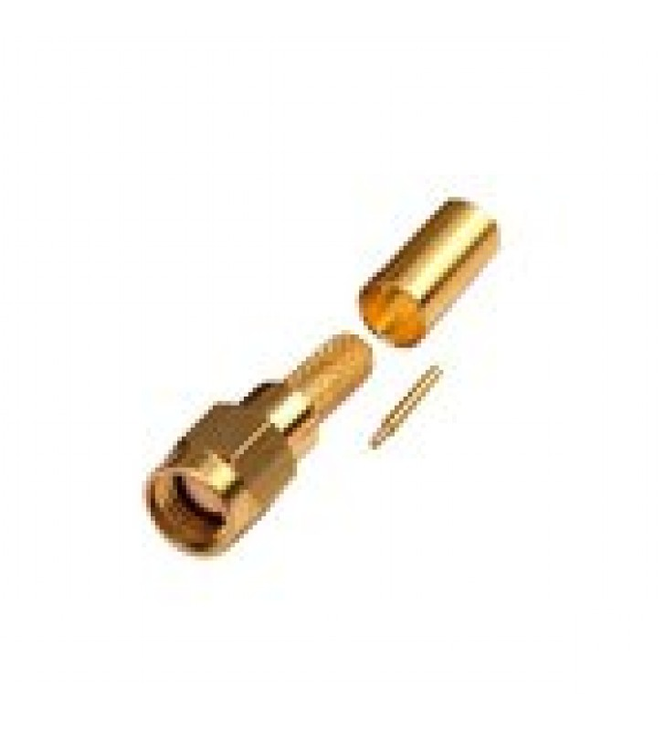CONECTOR SMA MACHO DE ANILLO PLEGABLE PARA CABLE RG-58/U, ORO/ORO/TEFLON.