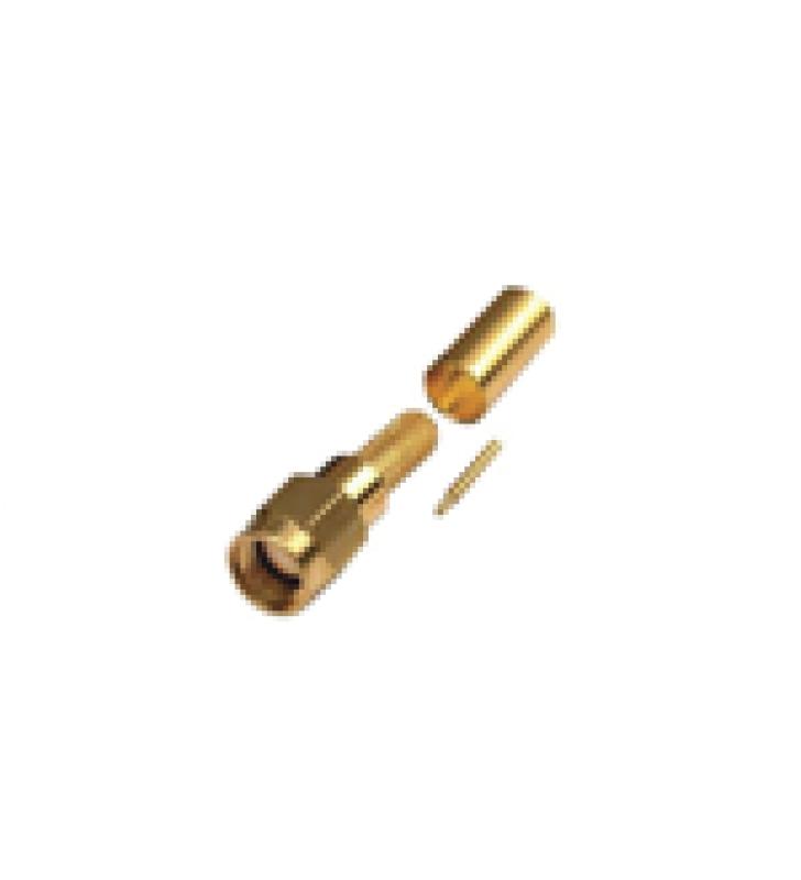 CONECTOR SMA MACHO DE ANILLO PLEGABLE PARA CABLES RG-142/U, LMR-195, ORO/ORO/TEFLON.
