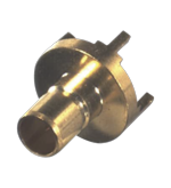 CONECTOR SMB JACK (PIN MACHO) MONTAJE VERTICAL PARA PCB, NIQUEL/ ORO/ TEFLON.