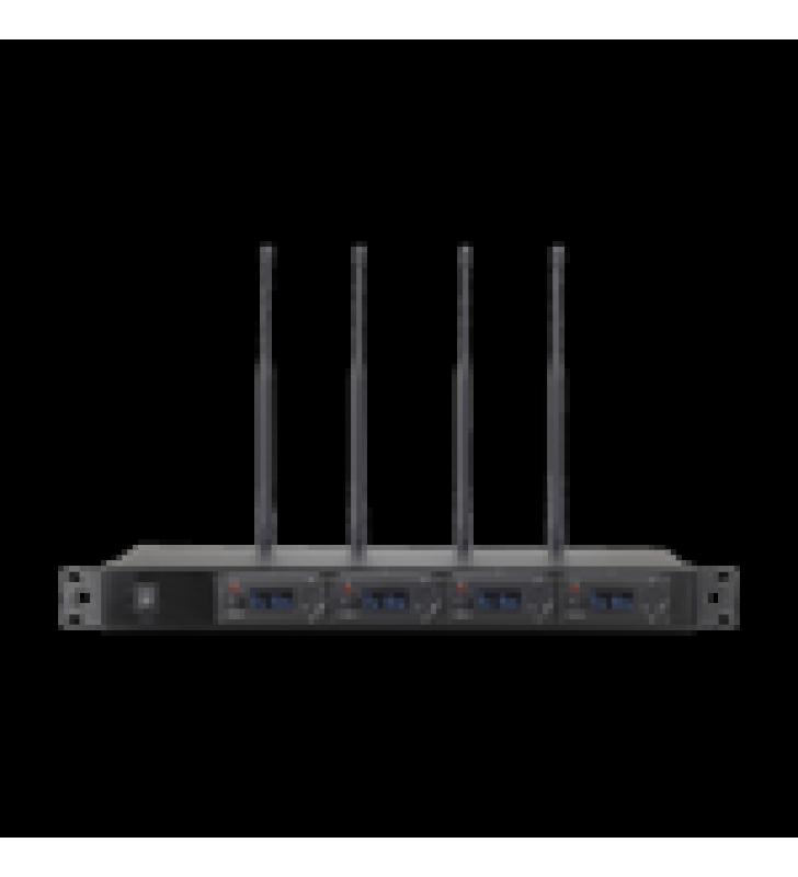 RECEPTOR UHF PARA 4 MICROFONOS INALAMBRICOS / PANTALLA LCD DE CRISTAL LIQUIDO