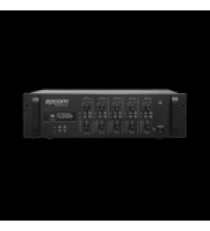 MEZCLADOR AMPLIFICADO - 4 ZONAS DE 240W RMS / 4 CANALES / 5 ENTRADAS / MP3 TUNER USB/SD / 1 ENTRADA DE MICROFONO