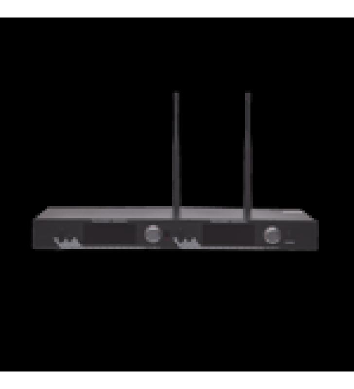 RECEPTOR UHF PARA 2 MICROFONOS INALAMBRICOS / PANTALLA LCD DE CRISTAL LIQUIDO