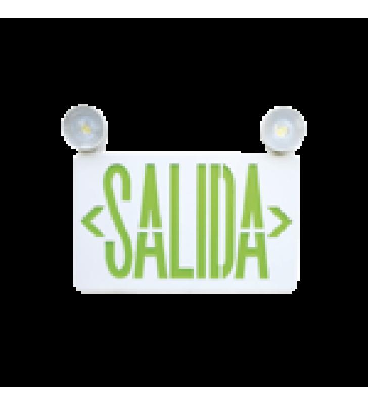LETRERO LED DE SALIDA CON LUZ DE EMERGENCIA/MONTAJE UNIVERSAL (PARED, LATERAL O TECHO)/BATERIA DE RESPALDO INCLUIDA