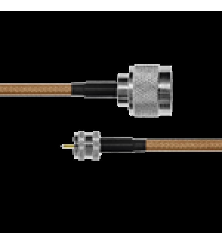 CABLE COAXIAL RG-142/U DE 110 CM, 50 OHM CON CONECTORES N MACHO A MINI UHF MACHO.