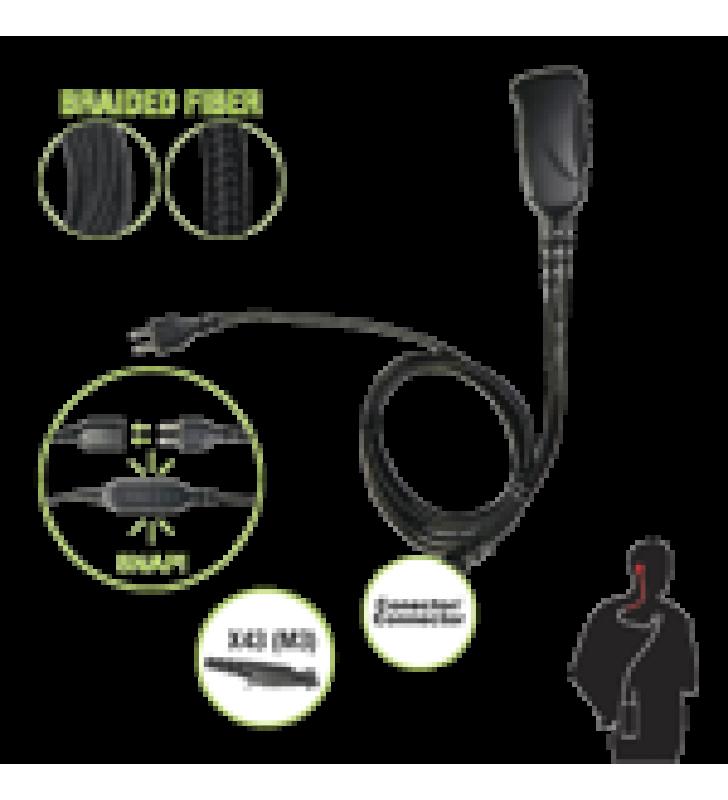 MICROFONO CON CABLE DE FIBRA TRENZADA SERIE SNAP COMPATIBLE CON CONECTOR MULTIPIN MOTOROLA SERIE GP(PLUS) Y SERIE EX.