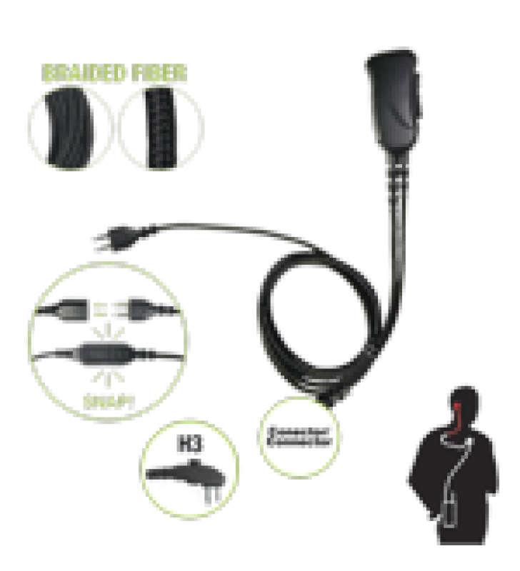 BRAIDED FIBER 1 CABLE LAPEL MIC W/ SNAP CONNECT FOR HYTERA CONNECTOR. SELECT DIFFERENT EARPHONES NOT INCLUDED