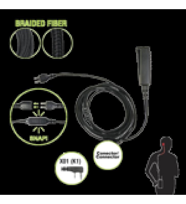 CABLE PARA MICROFONO AUDIFONO SNAP INTERCAMBIABLE CON CONECTOR PARA RADIOS KENWOOD CON CONECTOR DE 2 PINES.