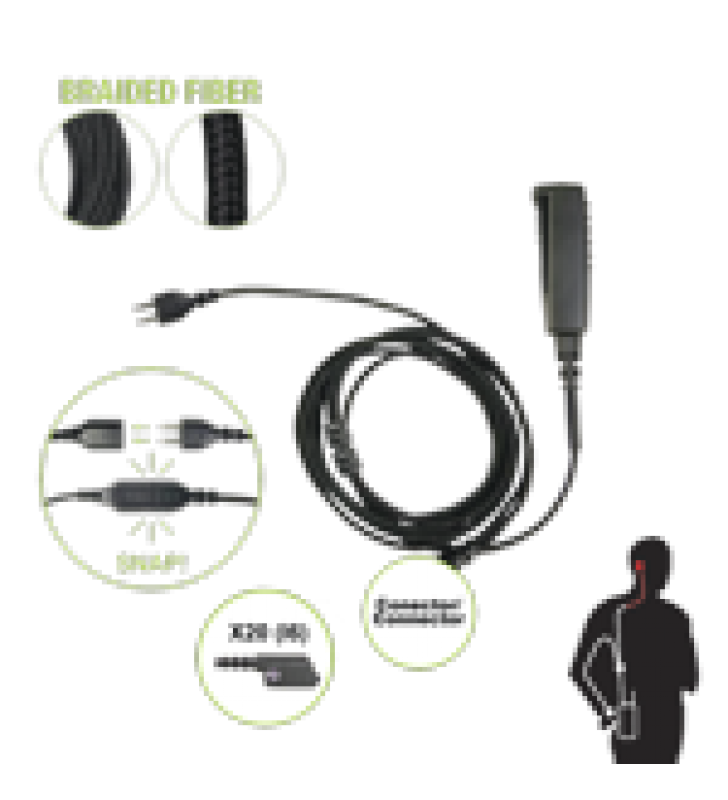 CABLE PARA MICROFONO AUDIFONO SNAP INTERCAMBIABLE CON CONECTOR PARA RADIOS ICOM IC-F3216/4261DS/DT, IC-F52D/62D, IC-F3400/4400DS/DT