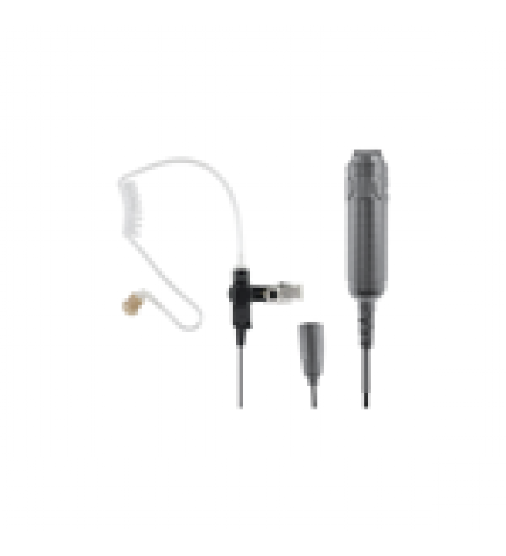 HEAVY DUTY 3-WIRE SURVEILLANCE KIT: FEATURES ACOUSTIC TUBE EARPHONE WITH TWIST CONNECTOR, REMOTE PTT SWITCH AND LOW-PROFILE LAPEL MICROPHONE. STRAIGHT CABLE.