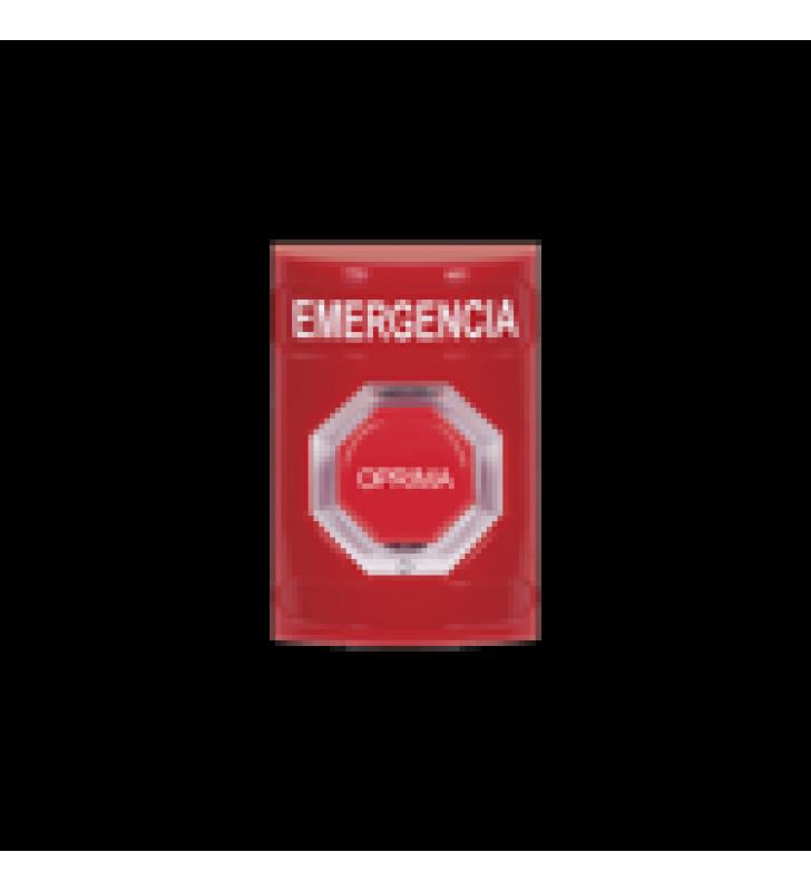BOTON DE EMERGENCIA EN ESPANOL,  COLOR ROJO, ACCION MANTENIDA, GIRAR PARA RESTABLECER Y LED MULTICOLOR