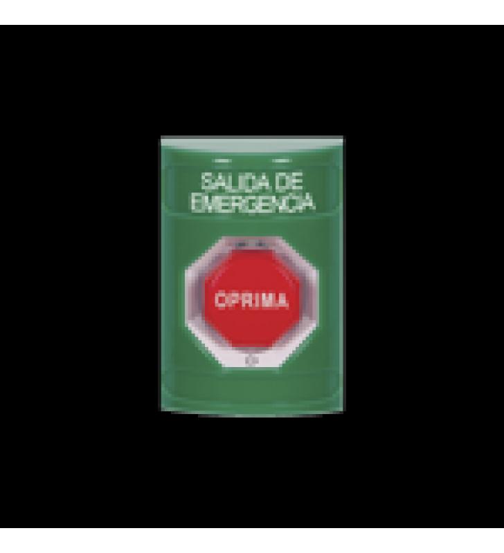 BOTON DE SALIDA DE EMERGENCIA EN ESPANOL, ACCION MANTENIDA, GIRAR PARA RESTABLECER Y LED MULTICOLOR