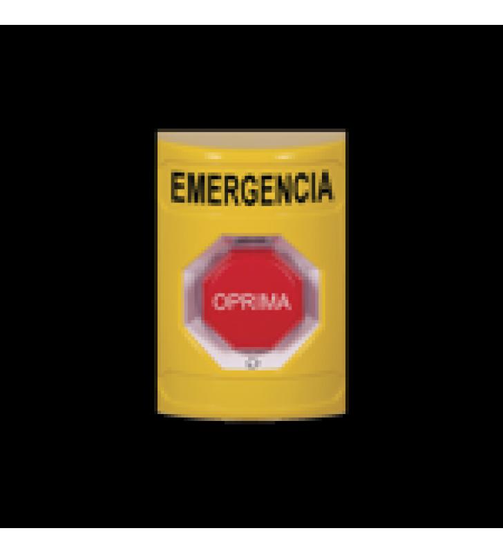 BOTON DE EMERGENCIA EN ESPANOL, COLOR AMARILLO, ACCION MANTENIDA, GIRAR PARA RESTABLECER Y LED MULTICOLOR
