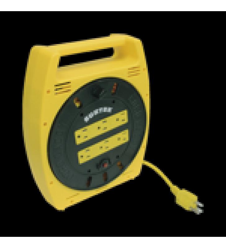 EXTENSION ELECTRICA TIPO CARRETE MULTICONTACTO 6 METROS CON 6 ENTRADAS.