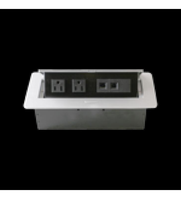 CAJA HORIZONTAL DE ESCRITORIO, CON CONECTOR RJ45 CAT5E, RJ11, 2 CONTACTOS DE 125V (11000-73201)