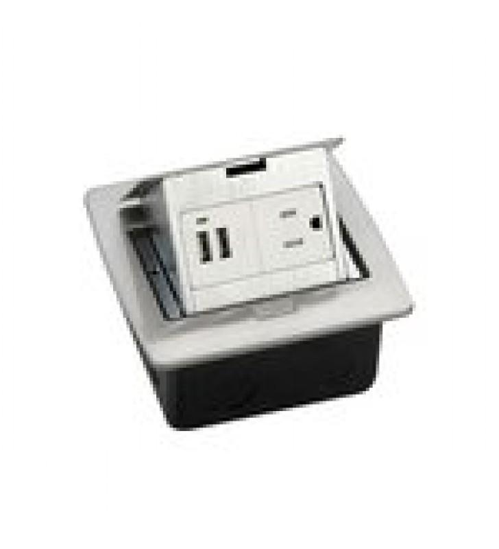 CAJA DE PISO CUADRADA CON 2 PUERTOS USB Y CONTACTO ELECTRICO (11000-21203)