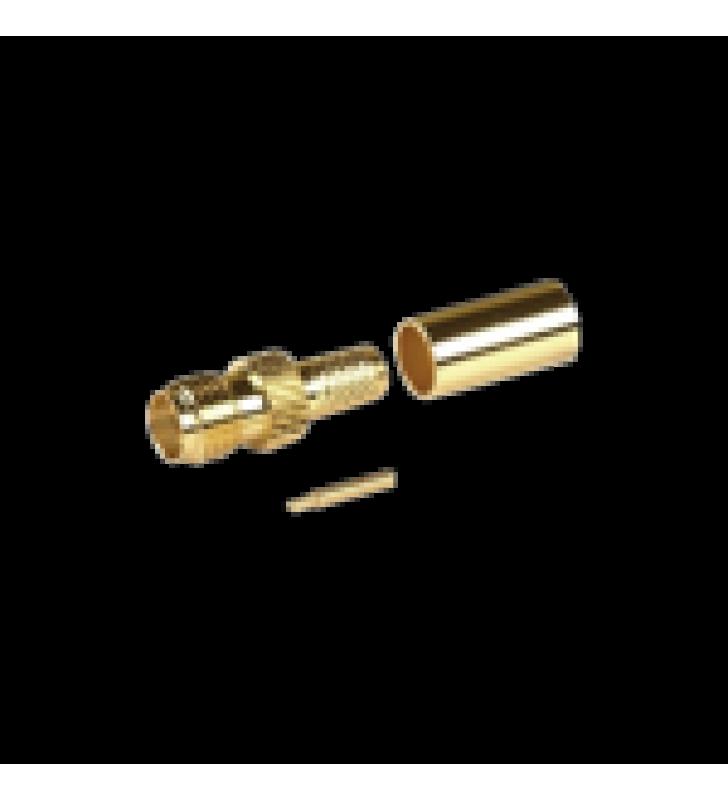 CONECTOR SMA HEMBRA INVERSO DE ANILLO PLEGABLE PARA CABLE RG-8/X, 9258, LMR-240, LMR-240UF,  LMR-LW240, ORO/ORO/TEFLON.