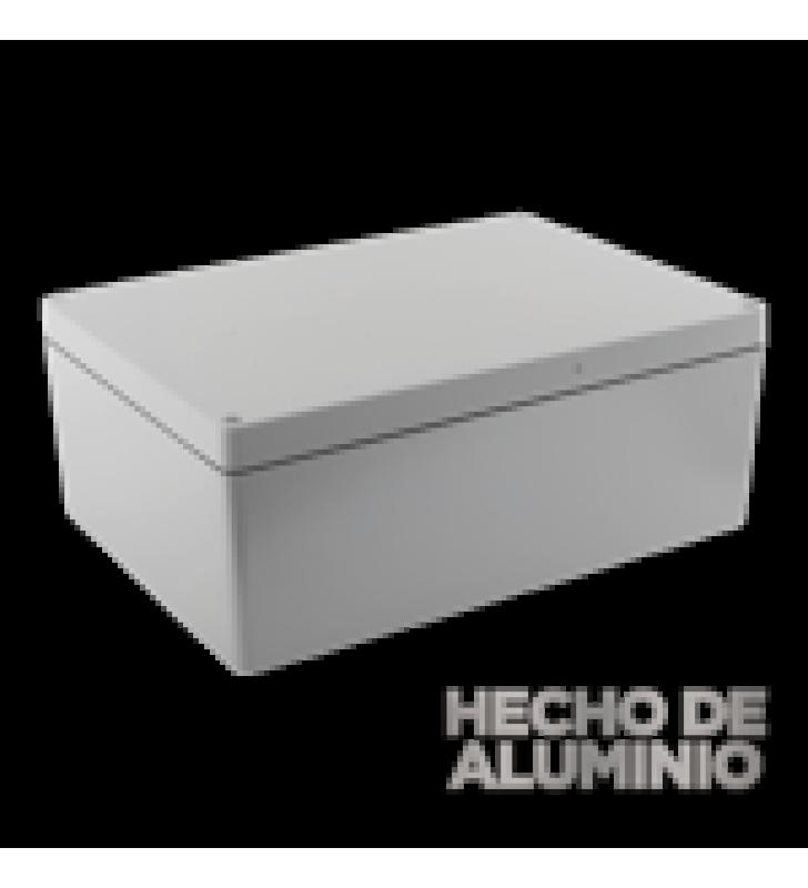 GABINETE DE ALUMINIO PARA EXTERIOR (IP66) DE 390 X 280 X 158 MM CON RAPIDA DISIPACION DE CALOR, CIERRE POR TORNILLOS CON BISAGRA.