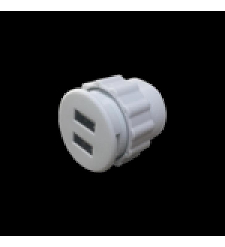 MINI EMPOTRABLE REDONDO COLOR BLANCO CON 2 PUERTOS USB, CON CABLE