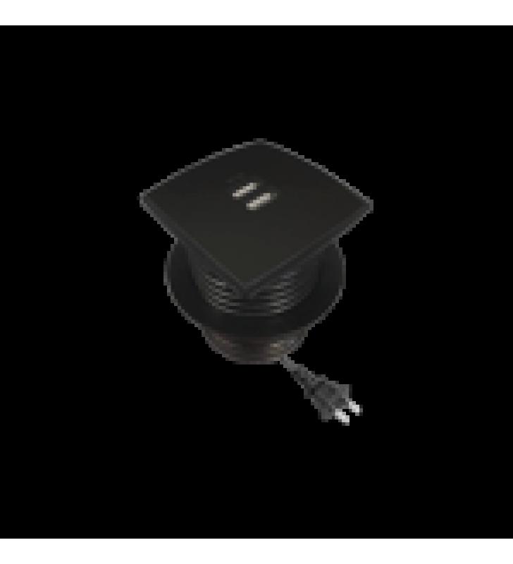 CAJA CUADRADA MULTY USB CON 2 PUERTOS USB Y CABLE DE CORRIENTE COLOR NEGRO