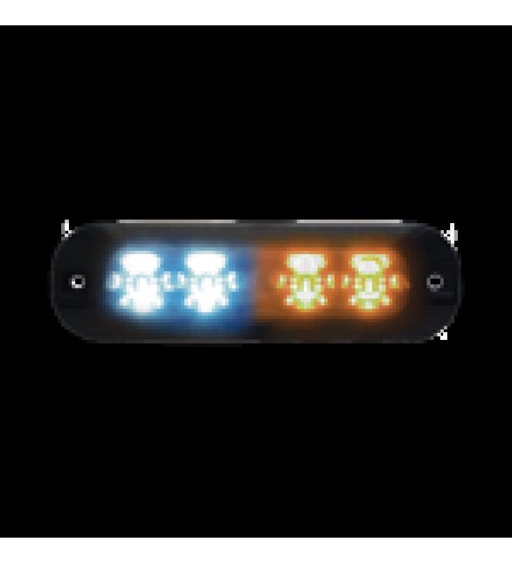LUZ PERIMETRAL, 4 LEDS ULTRA BRILLANTES, COLOR AMBAR / AZUL