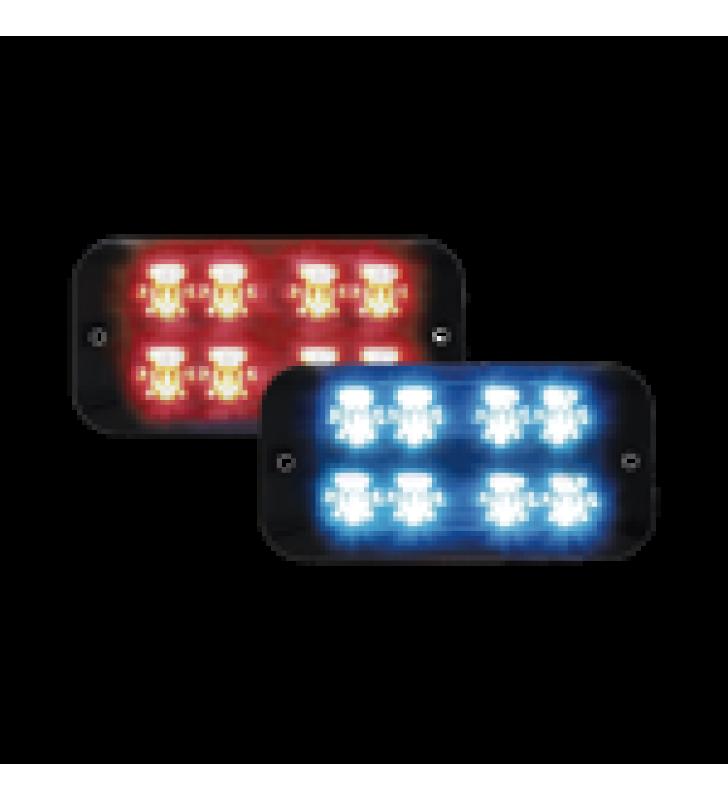 LUZ LED PERIMETRAL MULTICOLOR DIVIDIDA, 16 LED, DOBLE HILERA,  12VDC, ROJO / AZUL