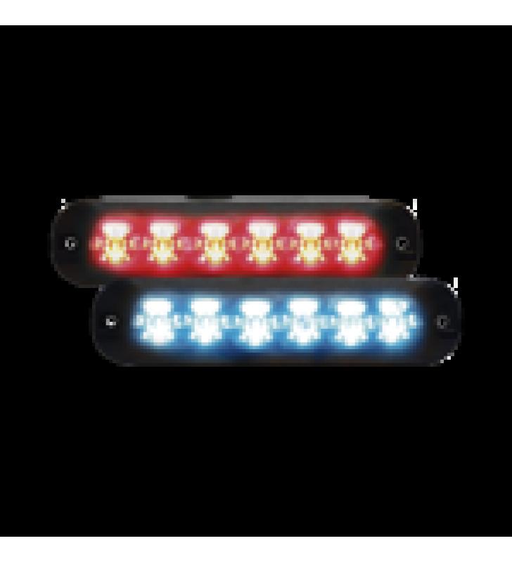 LUZ AUXILIAR SERIE X3705, 6 LEDS ULTRA BRILLANTES, MULTICOLOR ROJO / AZUL