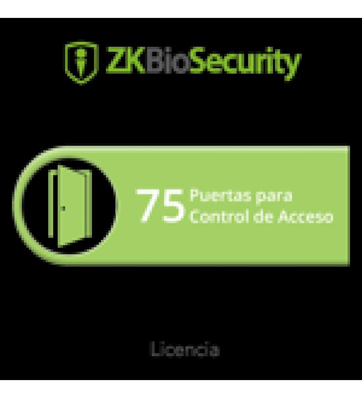LICENCIA PARA ZKBIOSECURITY PERMITE GESTIONAR HASTA 75 PUERTAS PARA CONTROL DE ACCESO