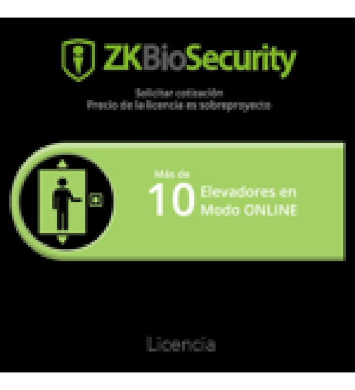 LICENCIA PARA ZKBIOSECURITY PARA MODULO DE ELEVADORES PARA MAS DE 10 ELEVADORES EN MODO ONLINE (SE COTIZA EN BASE AL PROYECTO)