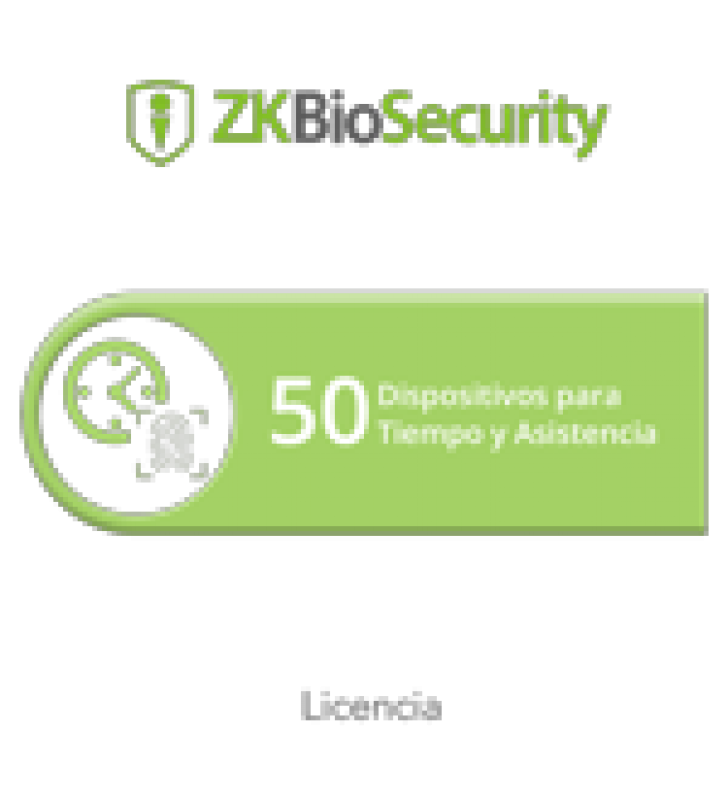 LICENCIA PARA ZKBIOSECURITY PERMITE GESTIONAR HASTA 50 DISPOSITIVOS PARA TIEMPO Y ASISTENCIA