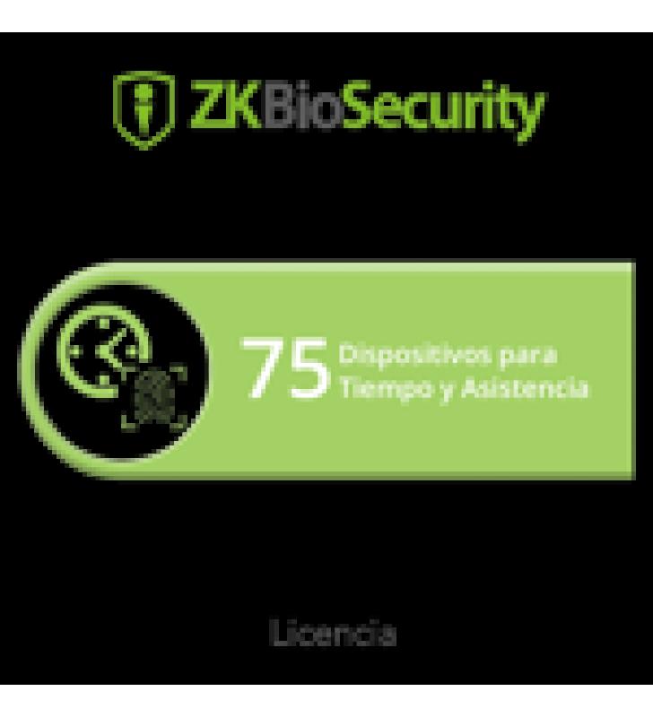 LICENCIA PARA ZKBIOSECURITY PERMITE GESTIONAR HASTA 75 DISPOSITIVOS PARA TIEMPO Y ASISTENCIA